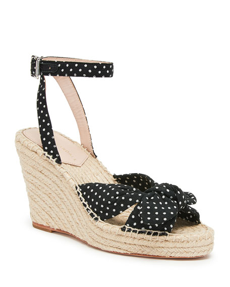 Image 1 of 1: Tessa 80mm Dot Bow Wedge Espadrilles