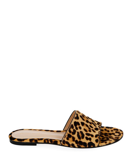 Leopard-Print Calf Hair Slide Sandals