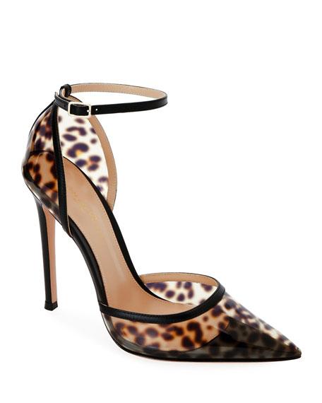 Leopard Plexi Pointed d'Orsay Pumps