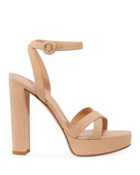 Leather Ankle-Strap Platform Sandals
