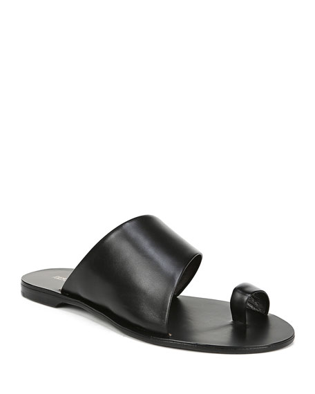 Image 1 of 1: Brittany Leather Flat Slide Sandals