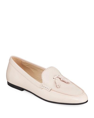 Textured Tassel Flat Loafers