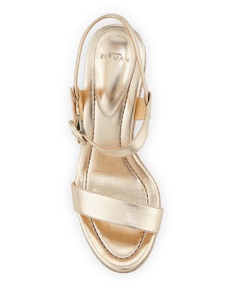 Corelle Metallic Leather Wedge Sandals