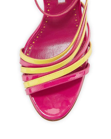 Acante Patent Ankle-Wrap Sandals