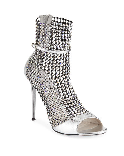 Crystal Mesh & Snake Caged Bootie Sandals