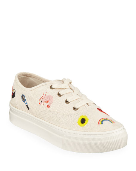 Image 1 of 1: Porto Embroidered Linen Lace-Up Sneakers
