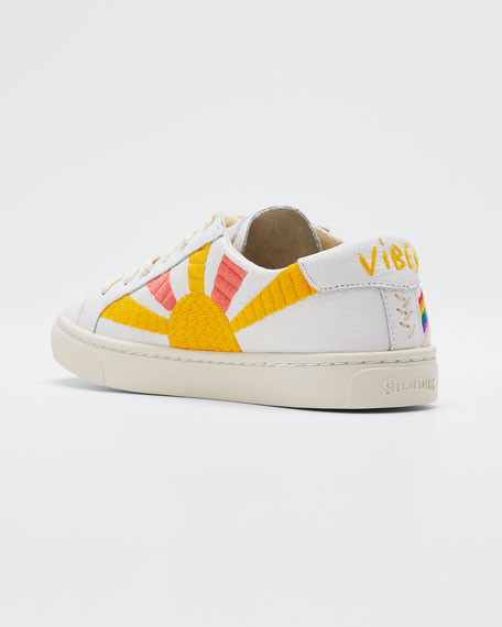 Shooting Star Embroidered Leather Sneakers
