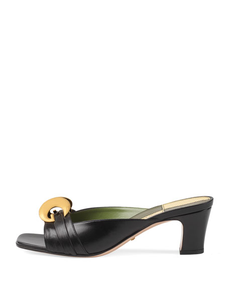 Usagi 55mm Leather Slide Pumps, Black