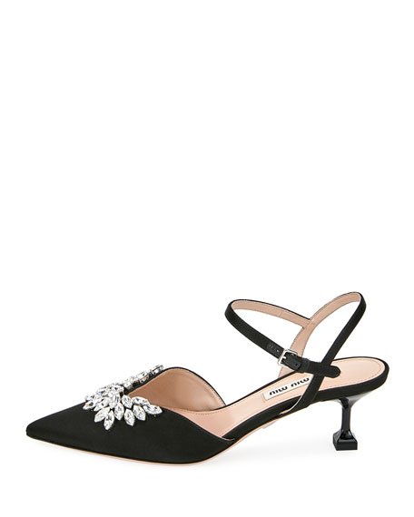 Embellished Satin Kitten-Heel Pumps