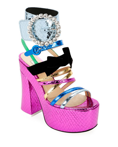 Bibbi Platform Metallic Sandals