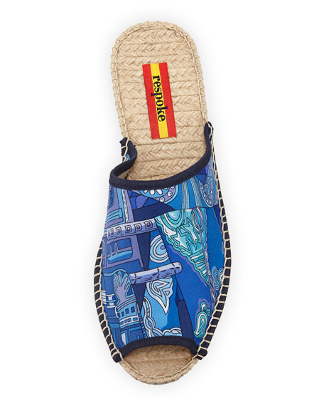 Josefa Silk Wedge Slide Espadrille Sandals