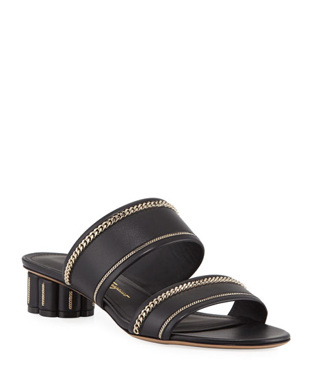 Image 1 of 1: Belluno Lux Chain-Trim Slide Sandals