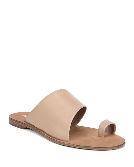Brittany Flat Leather Slide Sandals