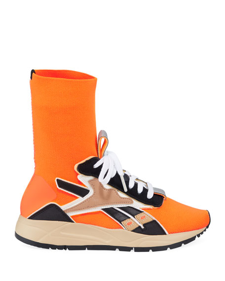 Bolton Stretch-Knit Sock Sneakers, Orange