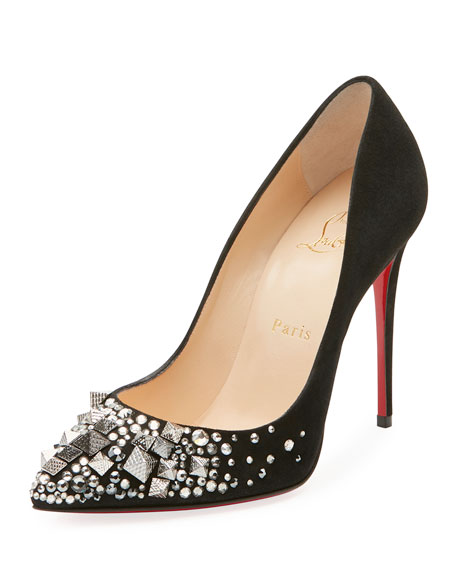 Christian Louboutin Keopomp Velours Embellished Red Sole Pump