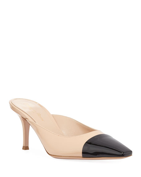 Patent Leather Cap-Toe Mules