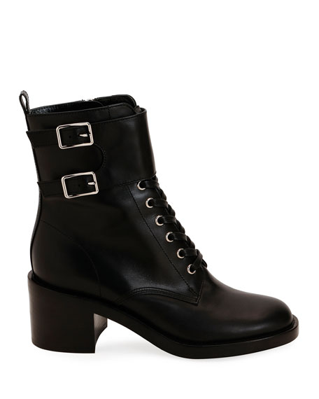Calf Leather Side-Zip Combat Booties