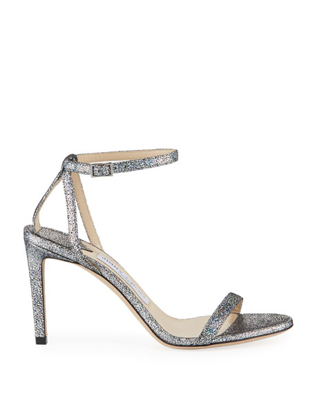 Minny Iridescent Leather Strappy Sandals