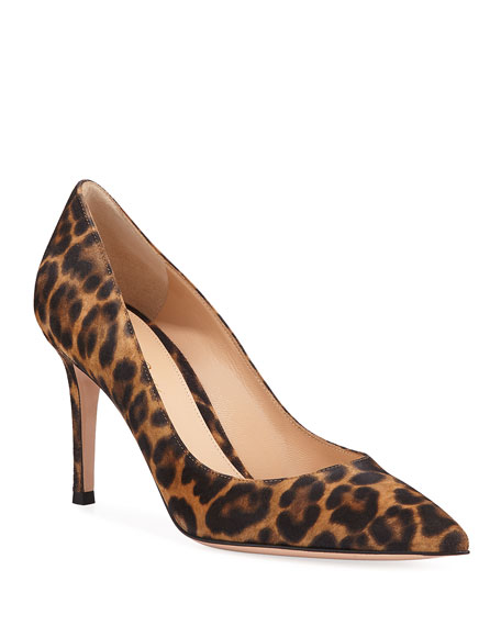 Gianvito 85 Leopard Suede Point Toe Pumps by Gianvito Rossi
