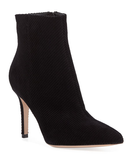 Corduroy Pointed-Toe Ankle Booties