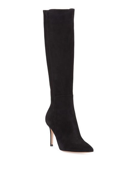 Suede Pointed-Toe Tall Boots