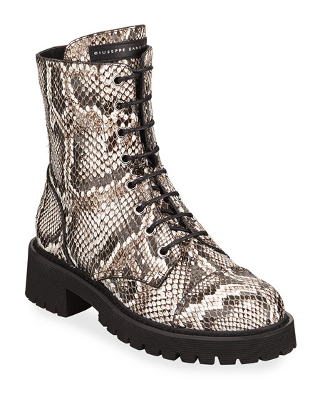Image 1 of 1: Python-Embossed Leather Combat Boots