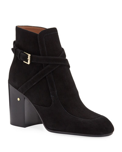 Tonia Suede Buckle Ankle Booties