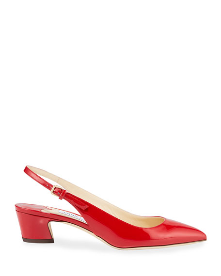 Gemma Low-Heel Patent Slingback Pumps