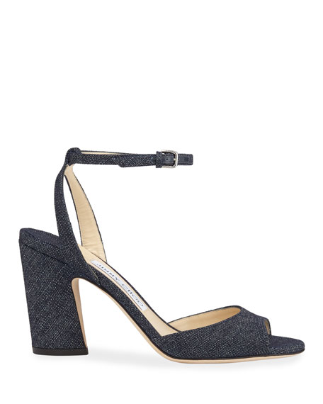 Miranda Open-Toe Denim Pumps
