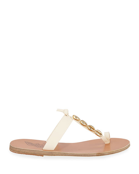 Iris Metallic Seashell Flat Sandals