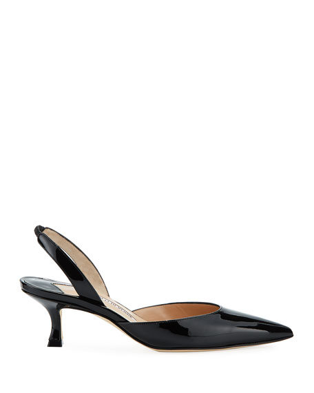 Carolyne Low-Heel Patent Halter Pumps