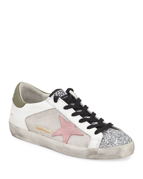 Image 1 of 1: Superstar Low-Top Glittered Leather Sneakers