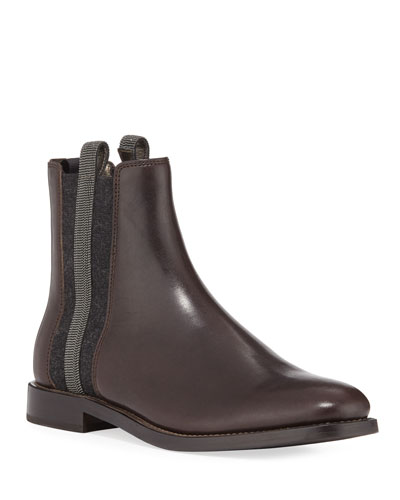 Chelsea Leather Cashmere Riding Booties
