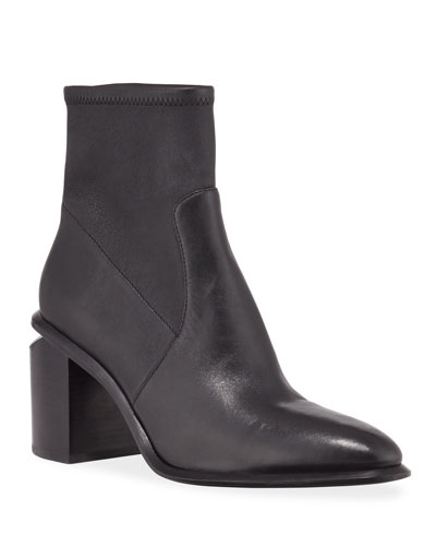 Anna Leather Block-Heel Stretch Booties