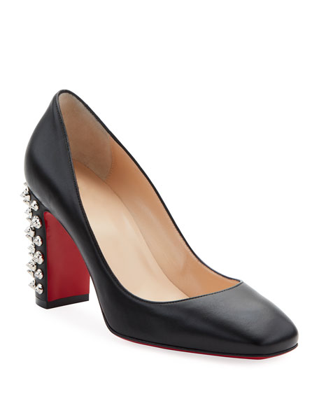 Image 1 of 1: Donna Spikes Red Sole Pumps, Black/Silver
