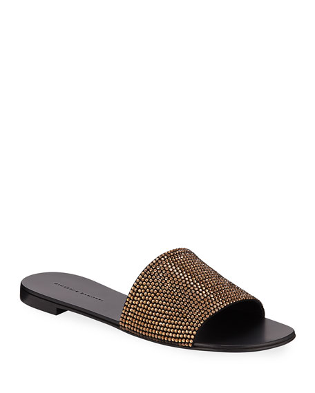 Image 1 of 1: Crystal-Studded Flat Slide Sandals