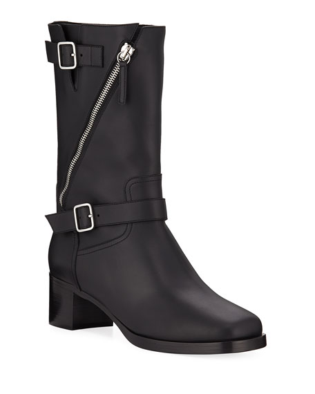 Image 1 of 1: Diagonal Zip Leather Buckle Boots