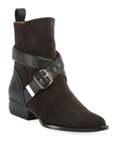 Image 1 of 1: Rylee Belted Suede Booties