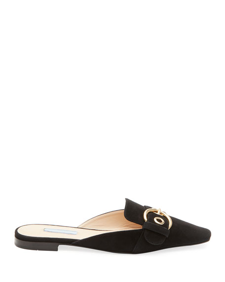 Flat Suede Buckle Mules