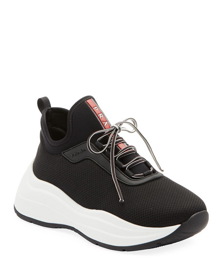 Image 1 of 1: Knit Lace-Up Sneakers