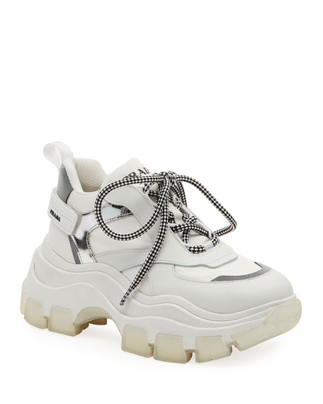 Lace-Up Chunky Platform Hiking Sneakers