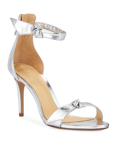 Asymmetric Clarita Metallic Ankle-Strap Sandals