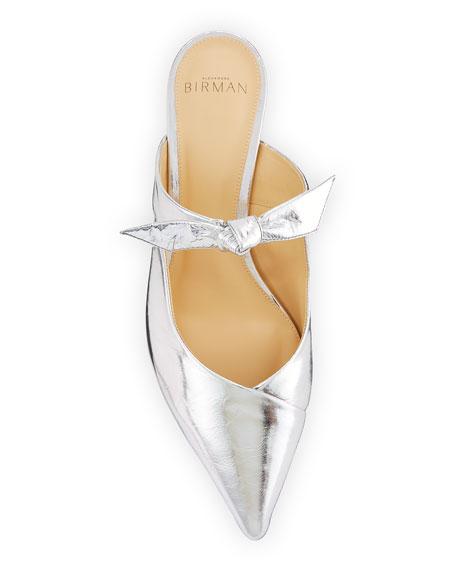 Clarita Metallic Leather Bow Mules
