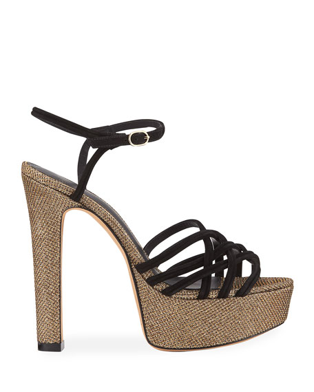 Berthe Strappy Glittered Platform Sandals