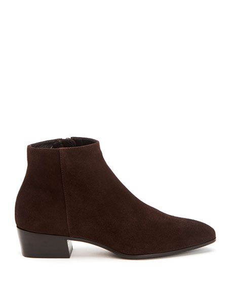 Fuoco Low-Heel Suede Zip Booties