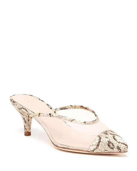 Juno Mesh & Leather Kitten-Heel Mules