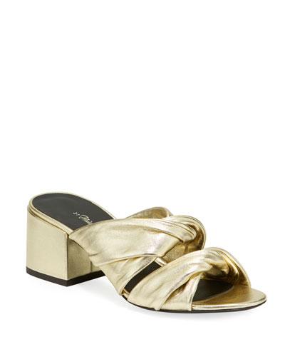 Cube Metallic Block-Heel Slide Sandals