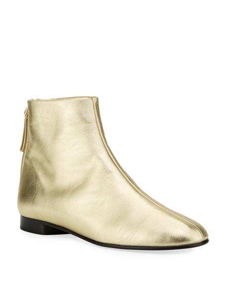 Nadia Flat Metallic Leather Ankle Booties