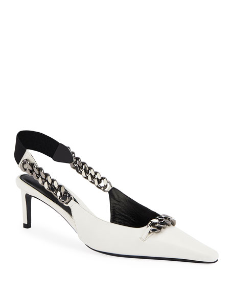 Pointed Slingback Pumps with Chain