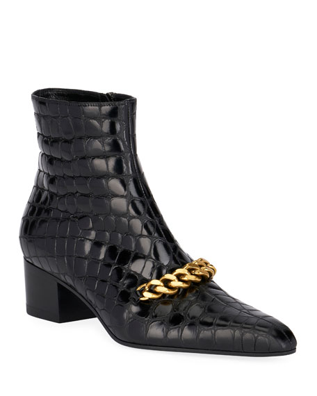 Image 1 of 1: Crocodile-Print Chain Ankle Booties